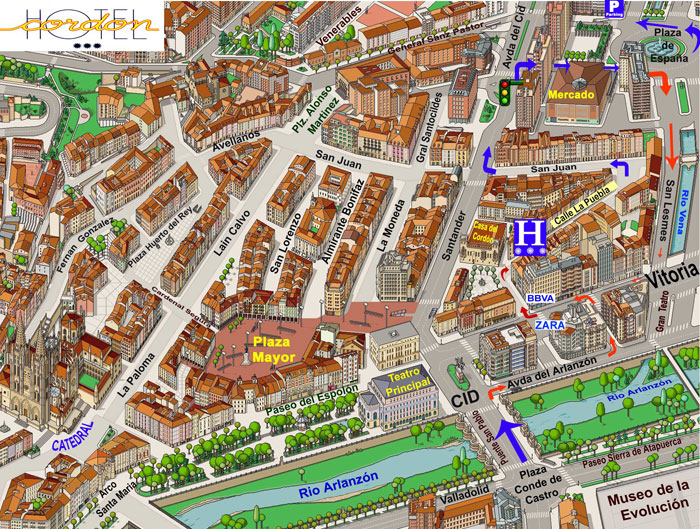 Mapa De Burgos Ciudad.Localizacion Hotel Burgos Hoteles Ofertas Catedral Museo